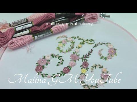 Watch : Flower MONOGRAM «K» | Floral embroidery || Буква К : Цветочная вышивка