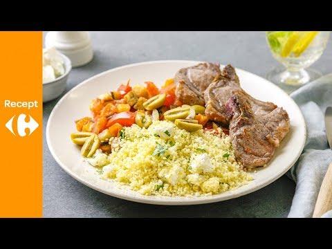 Gestoofde aubergineschotel met lamsvlees