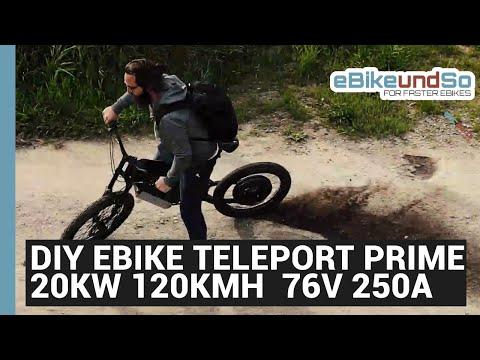 Das Todes E Bike DIY EBIKE Teleport Prime 20000W 120KMH E-DH BIKE 76V 250A 20AH 33,8KWH UMBAU APT