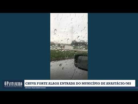 Chuva forte alaga entrada do município de Anastácio/MS