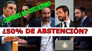 ???? ¿Qué pasaría en ESPAÑA si hubiera un 50% de ABSTENCIÓN CASO REAL ????