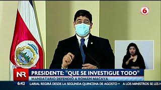 Presidente defiende a Román Macaya por cuestionada compra de mascarillas