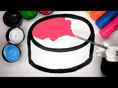 Painting Cake Paint Coloring Pages for Baby, How to Draw and Color a Cake