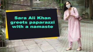 Sara Ali Khan greets paparazzi with a namaste - BOLLYWOODCOUNTRY