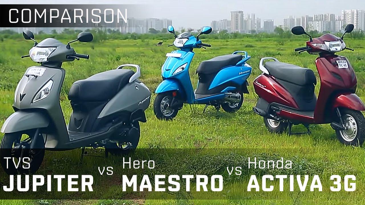 TVS Jupiter vs Hero Maestro vs Activa 3G :: 110cc Scooter Comparison