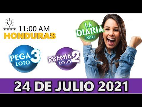 Sorteo 11 AM Resultado Loto Honduras, La Diaria, Pega 3, Premia 2, Sábado 24 de julio 2021  
