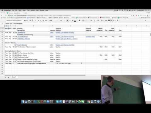 Lecture 20 of Evolutionary Robotics course at UVM (filmed Thurs Apr 13, 2017)