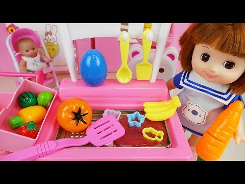 Baby doll fruit jelly cooking kitchen toys and surprise eggs baby Doli play