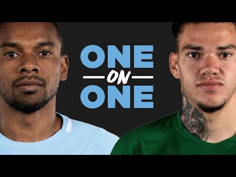 TATTOOS, FREE KICKS & PENALTY SAVES | ONE ON ONE | Fernandinho v Ederson