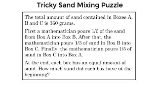Tricky Homework Problem For 10 Year Olds In Singapore! Sand Mixing Riddle