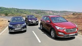 OVERDRIVE Comparo - 2014 Hyundai SantaFe vs Honda CR-V vs Ssangyong Rexton - Mahindra Videos