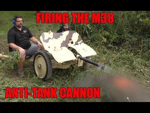 Firing the M38 Bofors Anti-tank Cannon