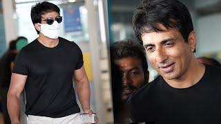 Sonu Sood EXCLUSIVE Visuals @ Hyderabad Airport | Tollywood Celebrities Airport Videos - TFPC