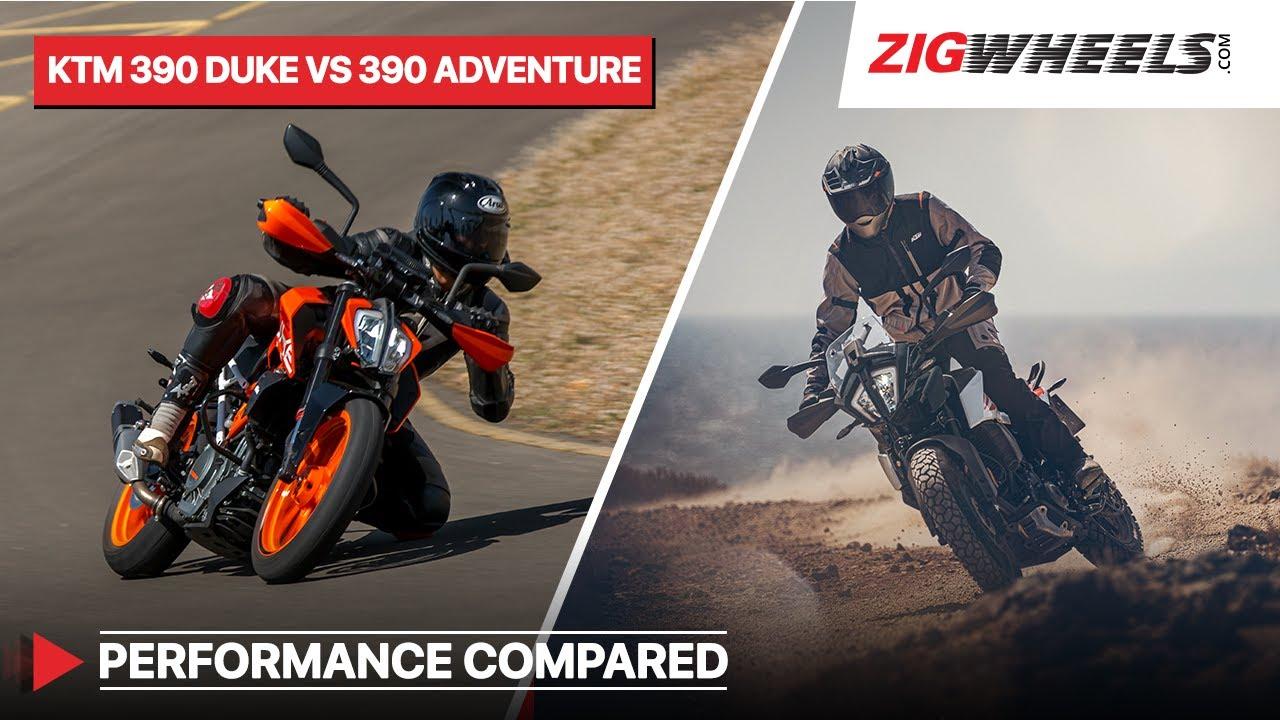KTM 390 Adventure vs 390 Duke - Performance, Braking, Mileage compared