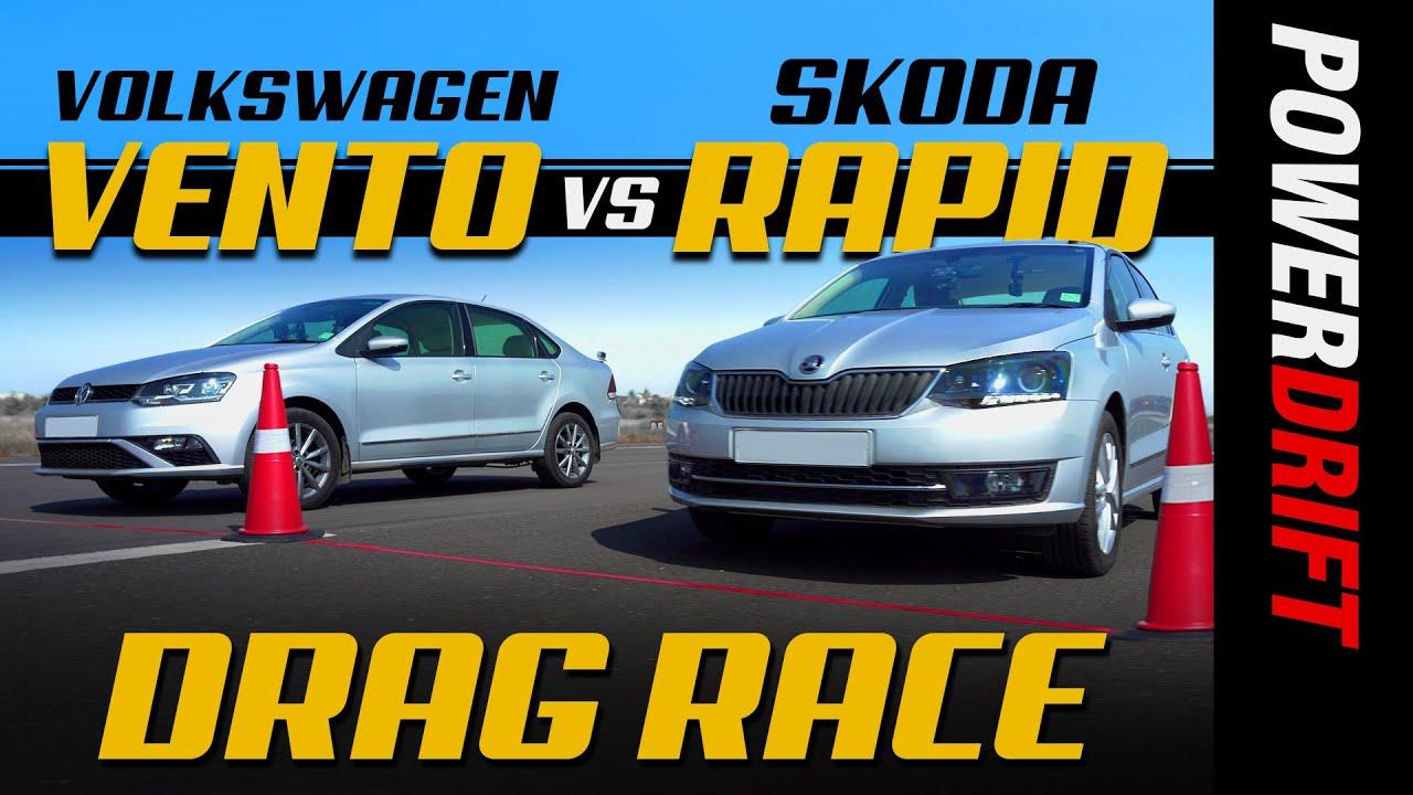 స్కోడా రాపిడ్ విఎస్ వోక్స్వాగన్ వెంటో | drag race | episode 4 | powerdrift