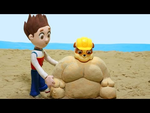 connectYoutube - Paw Patrol Playing in the Sand Castles Superhero Babies Cartoons Play Doh Stop Motion