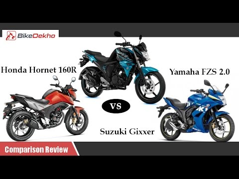 Suzuki Gixxer 155 vs Honda CB Hornet 160R vs Yamaha FZ S FI Comparison Review | BikeDekho.com