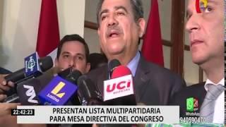 Presentan lista multipartidaria para mesa directiva del Congreso