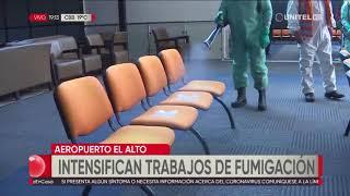 Intensifican trabajos de desinfección en el aeropuerto internacional de El Alto