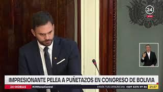Impresionante pelea a puñetazos se registró en congreso de Bolivia
