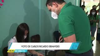 Carlos Ricardo Benavides emite su voto este domingo y esperará resultados en su casa de campaña