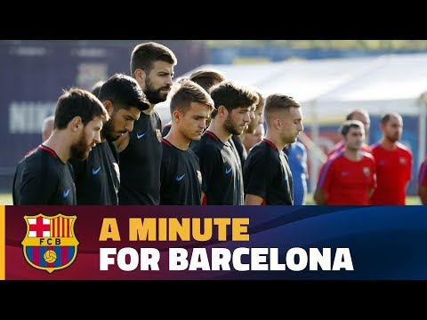 FC Barcelona pay their respects to the victims of Thursday's attack in the city