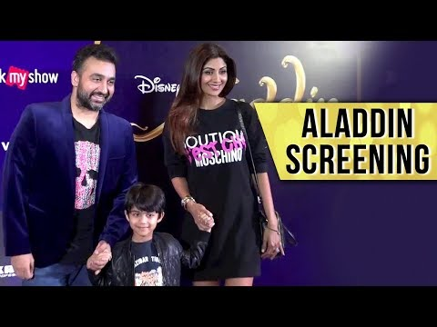 Shilpa Shetty And Raj Kundra With Son Viaan At Disney Aladdin Special Screening