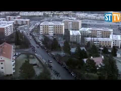 Sundsvallsbron - Världsrekord i fackeltåg.