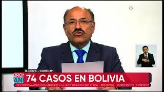 1Número de casos de coronavirus sube a 74 en Bolivia y Chuquisaca registra su primer contagio