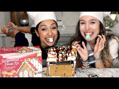 connectYoutube - GINGERBREAD HOUSE WITH NO HANDS CHALLENGE!!
