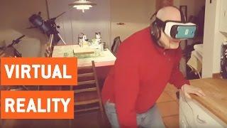 Dad Tries Samsung Virtual Reality Goggles