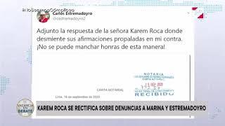 Karem Roca pide disculpas a la Marina y al ministro Estremadoyro y desmiente dichos en audios