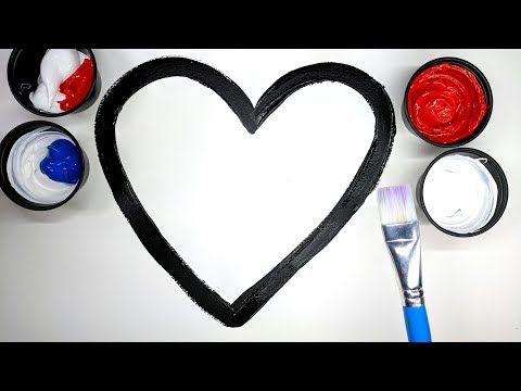 How to draw a heart with Paint, heart coloring pages, LEARN COLORS, learn to color with paint 💜