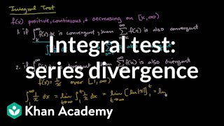 Integral test to show series divergence