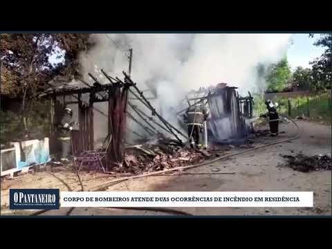 Corpo de Bombeiros atende duas ocorrências de incêndio em residência
