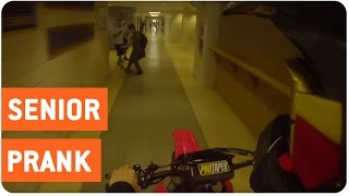 Dirt Bike Through School Hall | Senior Prank