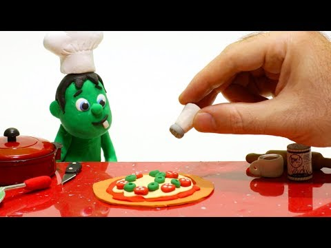 connectYoutube - Hulk cooking pizza Superhero Babies Cartoons Play Doh Stop Motion for kids