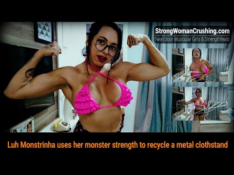 Luh Monstrinha uses her monster strength to recycle a metal clothstand