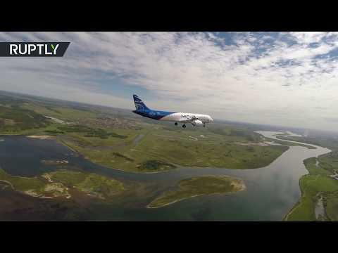 Видео первого полёта МС-21 в Иркутске