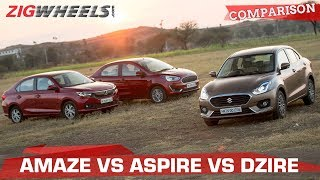 Ford Aspire vs Honda Amaze vs Maruti Suzuki Dzire   Battle of the Petrol compact sedans