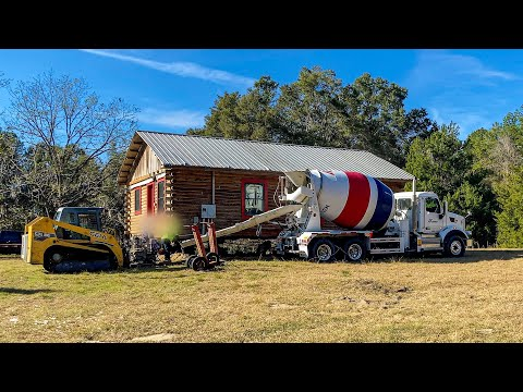 The Cement Truck Is Here | My Log Cabin is Finally Getting A Foundation