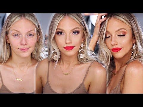 Glowy Glam Summer Makeup   Bright Lip Tutorial