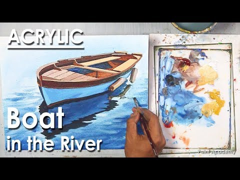 Acrylic Painting : Boat in the River | How to create reflection in water