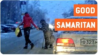 Good Samaritan Helps Old Woman Cross the Street