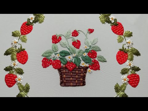 Fruit embroidery | easy stitches | Strawberries Basket