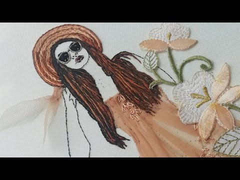 Lady in Hat: Hand Embroidery | Stem Stitch | Art Embroidery