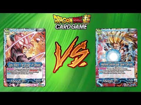 Red SS3 Goku vs Goku Black Dragon Ball Super Card Game Battle!