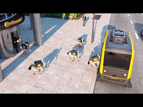 Autonomous robot dog delivers a package at CES