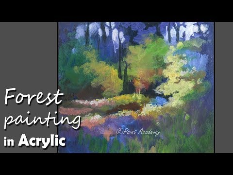 Acrylic Painting creative style Forest Painting step by step