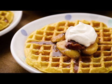 Breakfast Recipes - How to Make Bananas Foster Belgian Waffles
